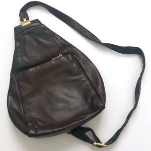 Vintage Brown Leather Crossbody Sling Backpack